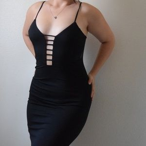 Black Plunging Neck Ladder Dress